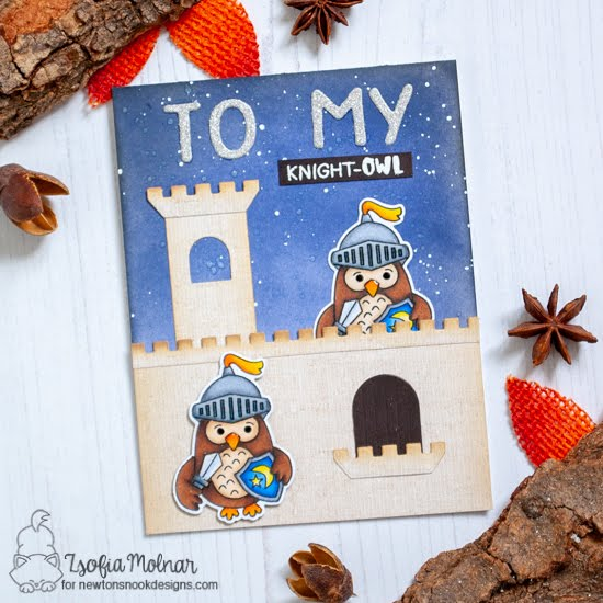 Knight Owl Card by Zsofia Molnar | Knight Owl Stamp Set and Essential Alphabet Die Set by Newton's Nook Designs #newtonsnook #handmade