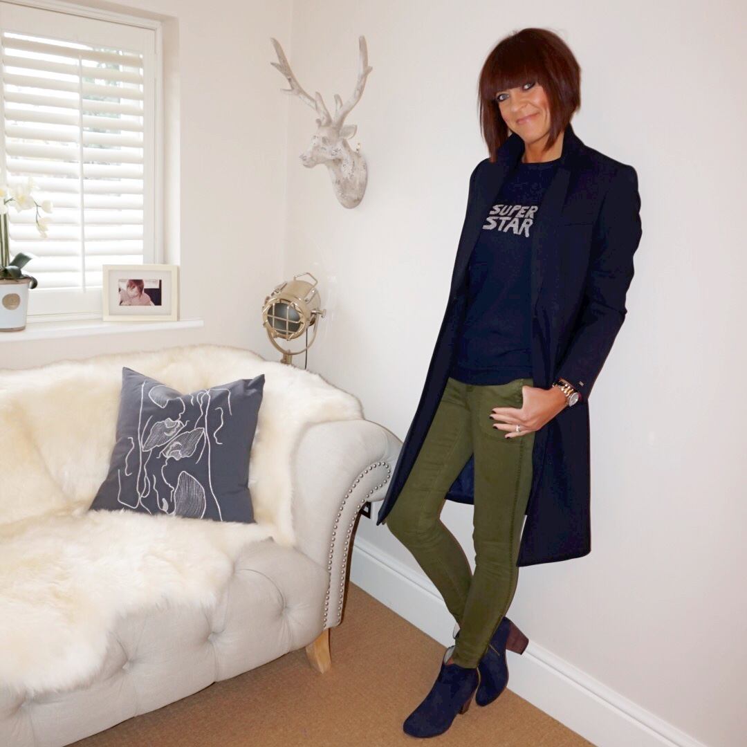 "my midlife fashion, bella freud superstar jumper, tommy hilfiger celeste coat, boden boho boots, j crew 9"" cargo toothpick pants"