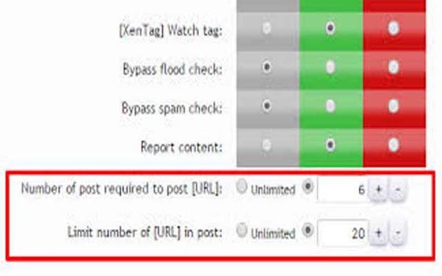 Addon giới hạn điều kiện để đăng bài và chèn link cho Xenforo