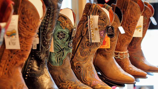 Cowboy boots at the visitors' center in Austin, Texas