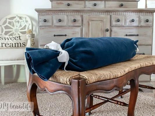 No Sew Velvet Bolster Pillow and DIY Insert