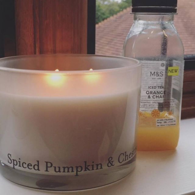 Spiced pumpkin, candle, scented candle, marks and Spencer, chia tea