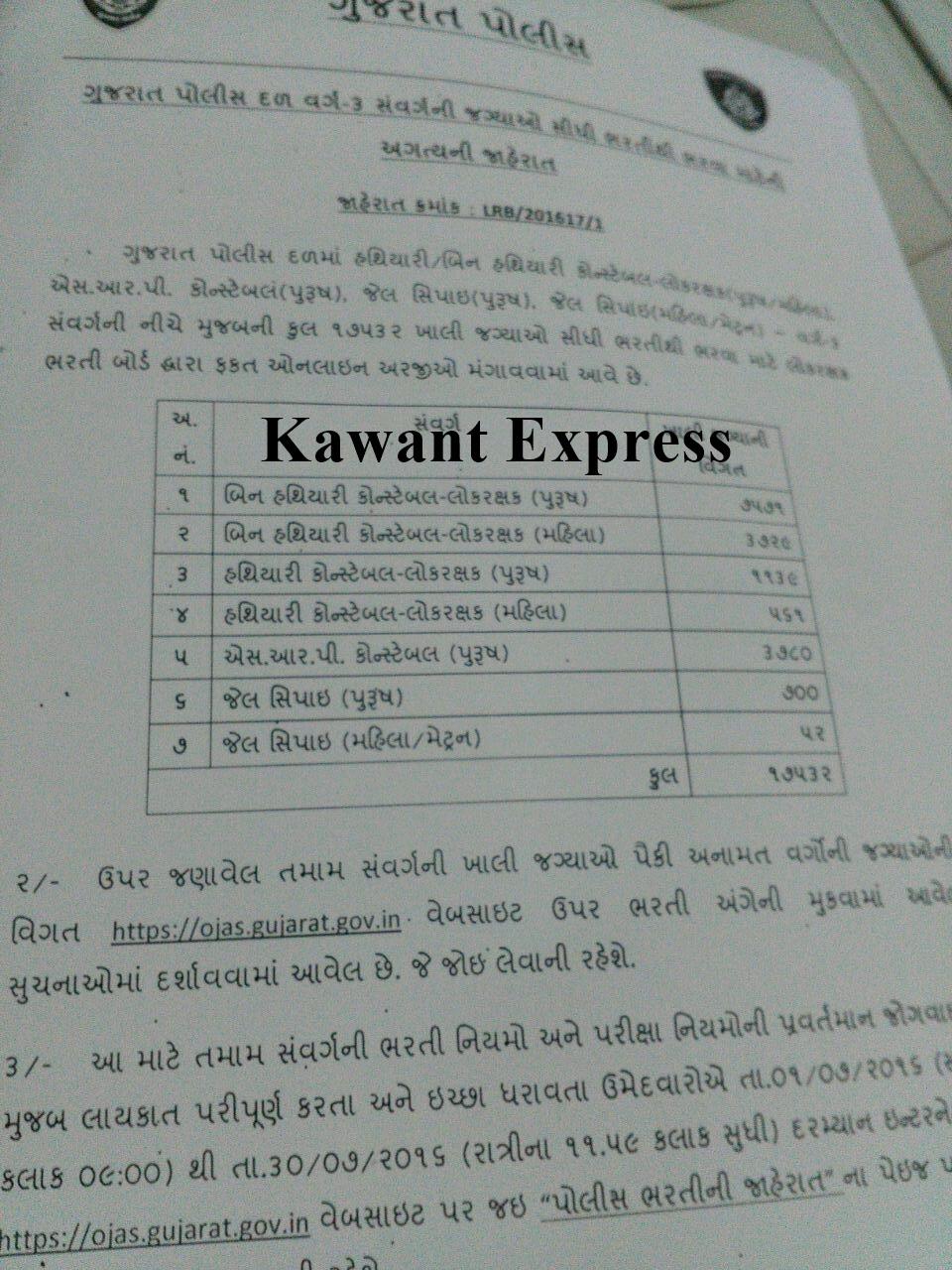 Answer Key For Gujarat Police Constable (Lokrakshak