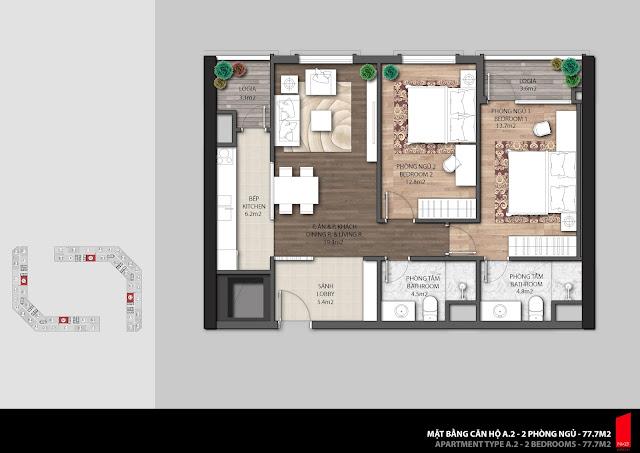 Thiết kế căn hộ A.2-77,7m2 chung cư The Emerald