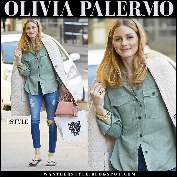 Olivia Palermo in cream max and co coat, green army zara shirt and ripped adriano goldschmied jeans what she wore april 2017