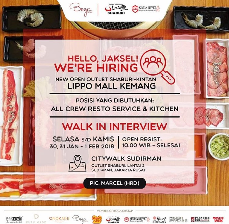 Walk In Interview di Shaburi Japanese Resto Januari - Februari 2018