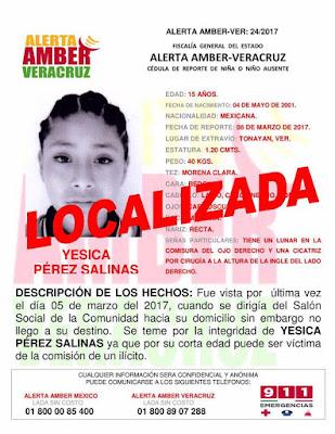 Desactivan 3 Alerta Amber en el Estado de Veracruz