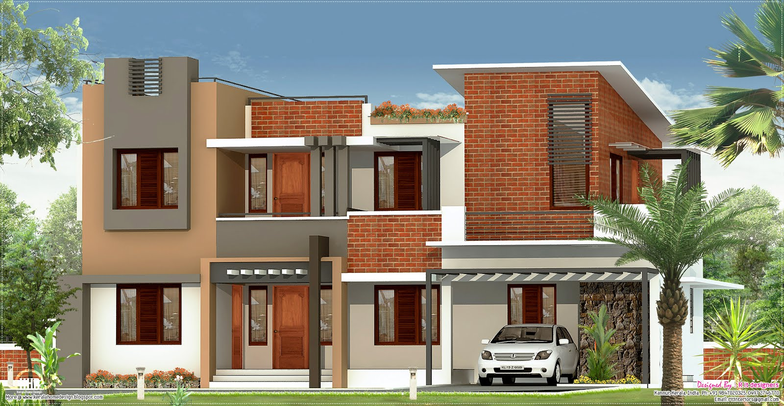 2226 flat roof villa house design plans for Flat roof elevation