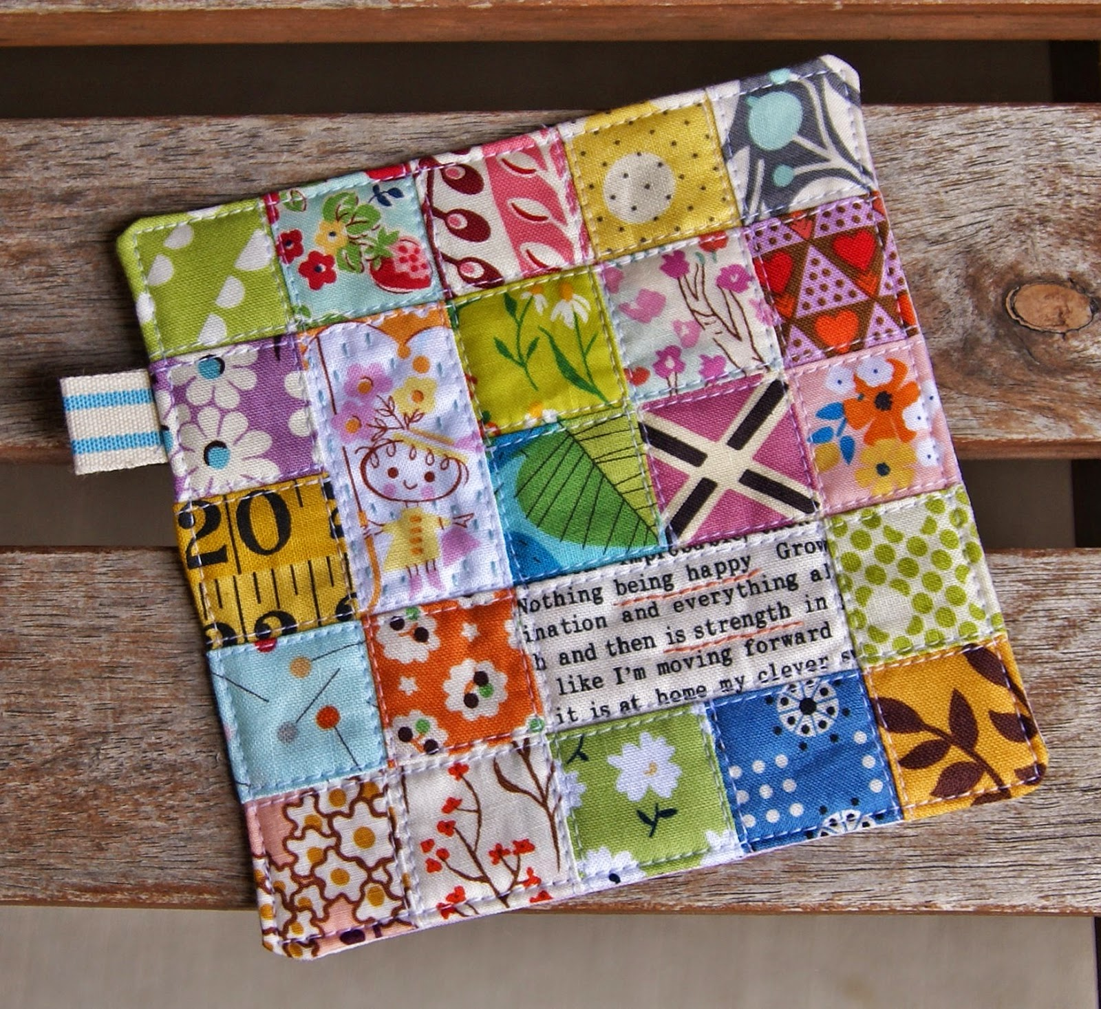 Patchwork Happy Coaster by Heidi Staples of Fabric Mutt