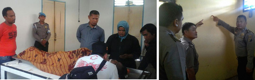 Jenazah Rifzal yang tewas di sel tahanan polres dan pihak kepolisian saat melakukan olah TKP.