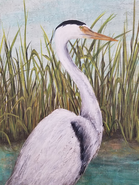 Florida blue heron painting coastal art