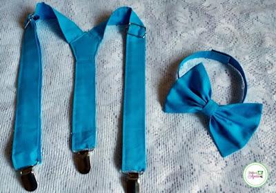 Kit de gravata borboleta e suspensorio infantil turquesa