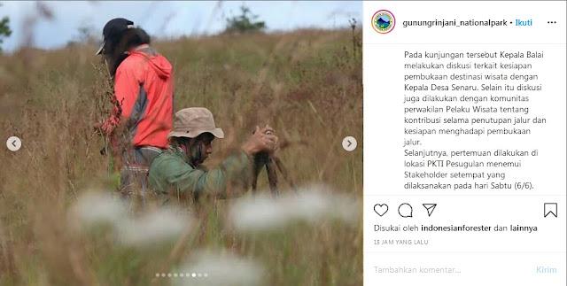 Persiapan Pembukaan Jalur Pendakian Taman Nasional Gunung Rinjani TNGR - Pasca Covid 19