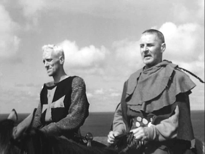 crusading Knight Antonius Bloc (Max von Sydow) with Squire Jons (Gunnar Bjornstrand), the seventh seal, directed by ingmar bergman
