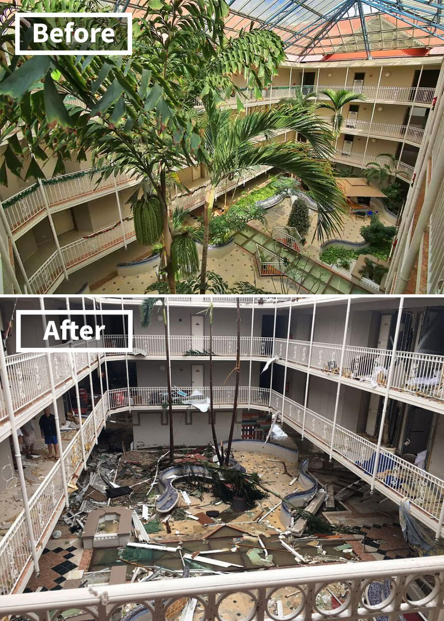 30 Shocking Pictures That Show How Catastrophic Hurricane Irma Is - Beach Plaza Hotel In St Martin (Before And After Irma Damage)