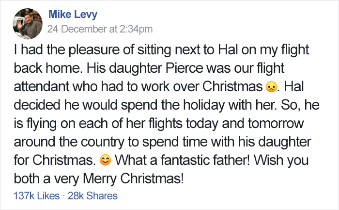 This Dad Booked Six Flights To Spend Christmas With His Flight Attendant Daughter