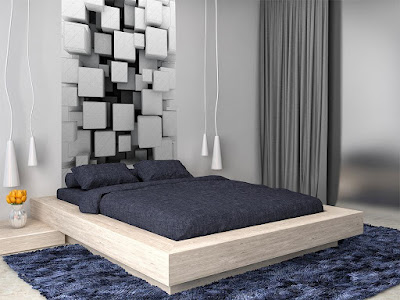 3D effect wallpaper pattern for bedroom walls