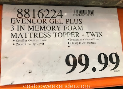 Deal for the EVENcor Gel-Plus Memory Foam Mattress Topper (Twin) at Costco