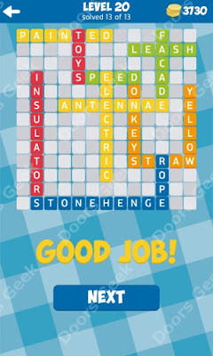 Cheats, Solutions for Level 20 in 13 Word Connect by Second Gear Games