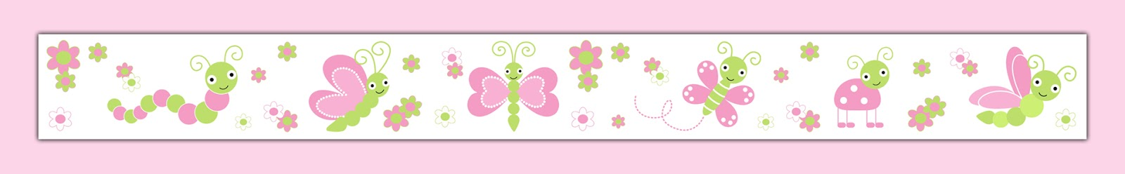 decamp studios butterfly ladybug dragonfly pink green wallpaper