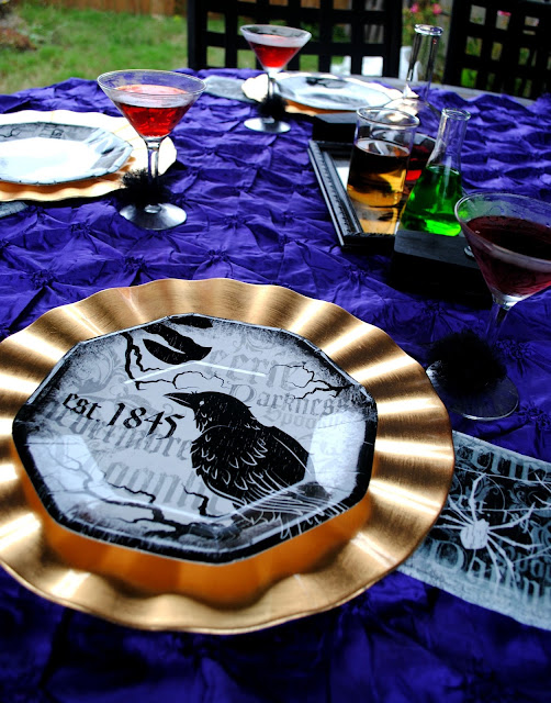 Set your Halloween dinner party table outside