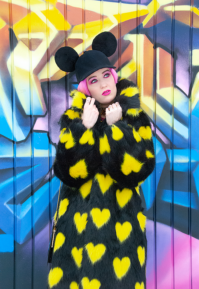 Sara is in Love with… influencer fashion blogger style ootd zurich switzerland shrimps winter coat faux fur yellow hearts mickey mouse ears moschino hm condom bag dr martens boots nina yuun mode suisse