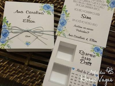 convite especial artesanal personalizado para padrinhos de casamento caixinha de bombom ferrero estampa floral aquarelado azul turquesa wedding papelaria personalizada para festas