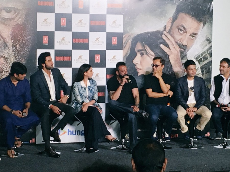 Sanjay Dutt, Ranbir Kapoor and Aditi Rao Hydari at Bhoomi Trailer Launch