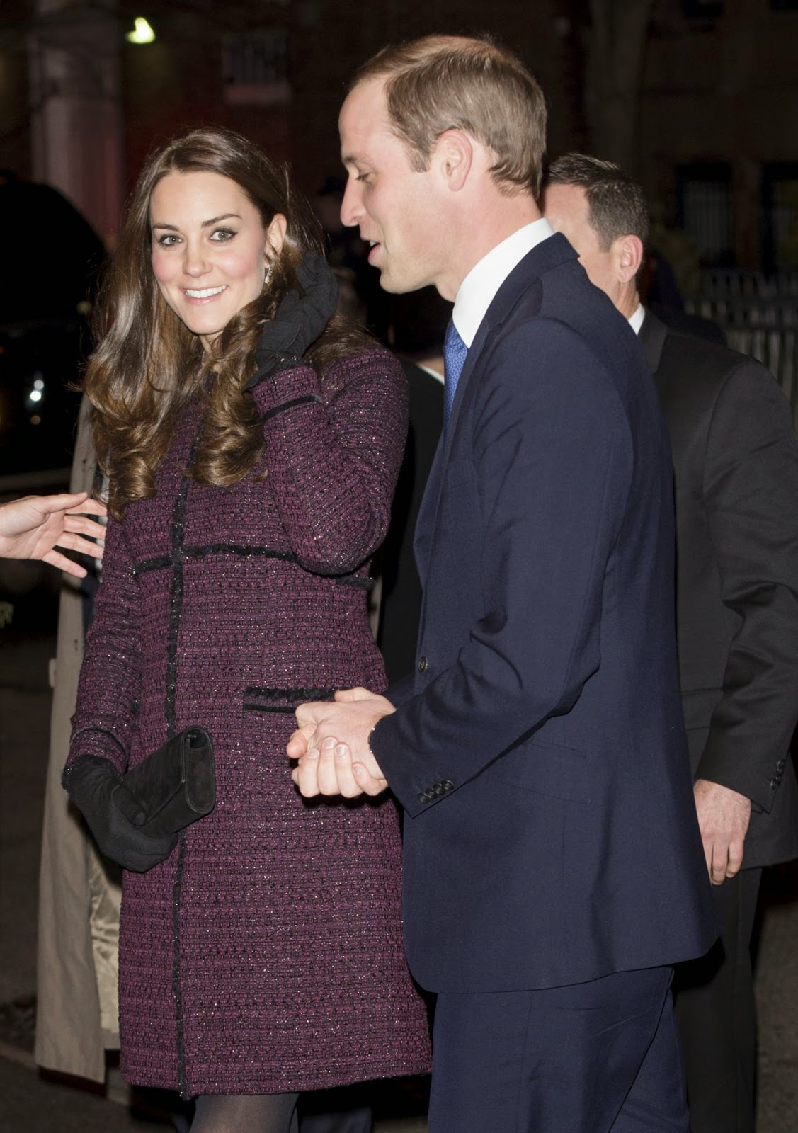 Kate Middleton arrives in New York in a purple Seraphine coat