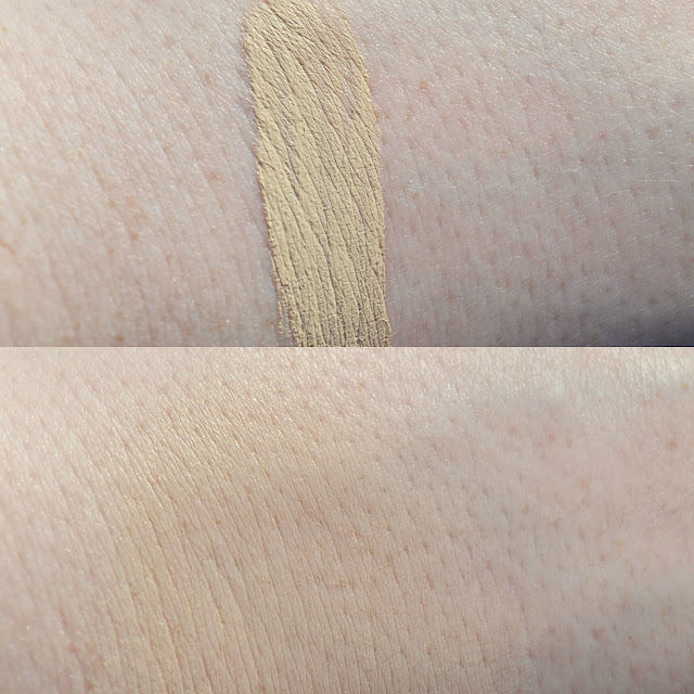 Swatches of the NARS Chantilly Concealer on pale skin both blended, and unblended