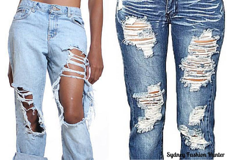 DIY Destroyed Jeans Step 3 - Destroyed Jeans Examples