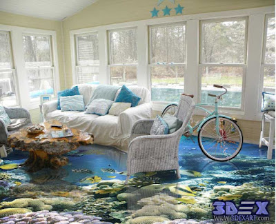 3D Epoxy Flooring, 3D Floor designs, 3d living room floor art