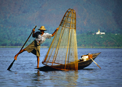 Inle Lake Fisherman they are called leg rower