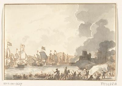 Kaart met de strijd om Cadiz, 1702 Asalto de cadiz 1702