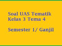 Soal UAS Tematik Kelas 3 Tema 4 Semester 1/ Ganjil 2016 - 2017