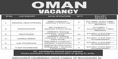 Oman Vacancies Male and Female Nurses - Apply Now