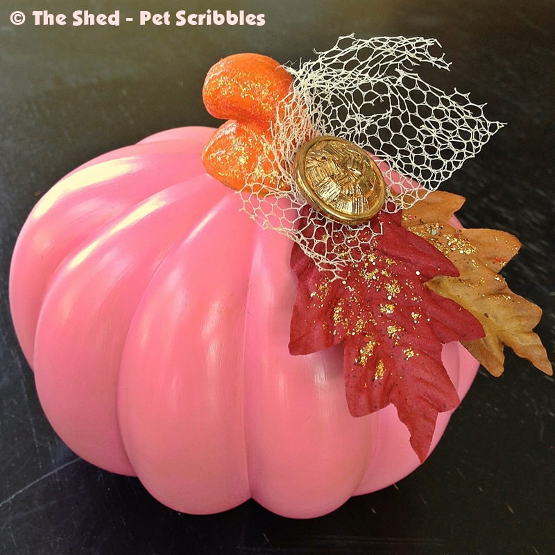 Pretty Pink Pumpkin (from a dollar store light-up, orange, plastic one!)