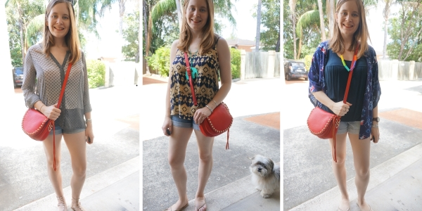 3 ways to wear denim shorts and Rebecca Minkoff red unlined saddle bag | awayfromblue