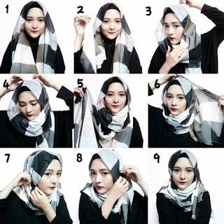 tutorial memakai hijab pashmina segi empat terbaru