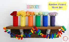 Rainbow Painted Mason Jars- perfect for St. Patrick's Day! Find out more at A Glimpse Inside.