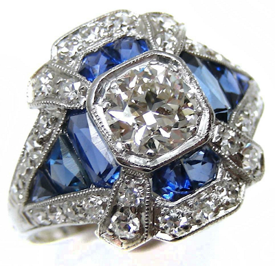 sapphires, diamonds, Art Deco, rings, cocktail rings, engagement rings, antique jewelry
