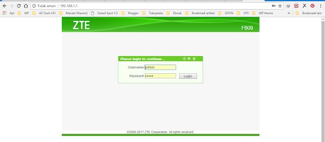 Login ke ONT dengan password admin