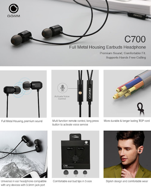 GGMM C700 Full Metal Housing In-Ear Universal Earbuds Headphone with Remote Control& Microphone, Supports Hands Free Calling, Crystal Clear Sound& Deep Heavy Bass, Lifetime Hassle Free Warranty