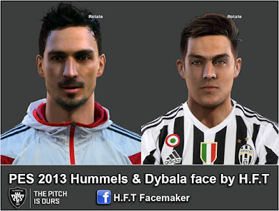 PES 2013 Hummels & Dybala face by H.F.T