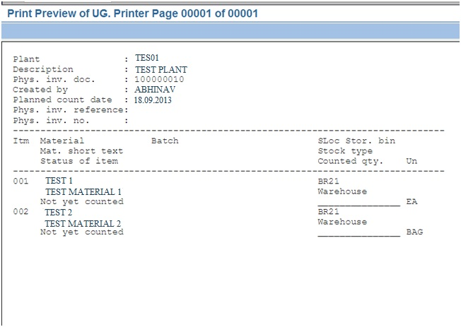 SAP Help Online: STEPS HOW TO PRINT PHYSICAL INVENTORY DOCUMENT IN