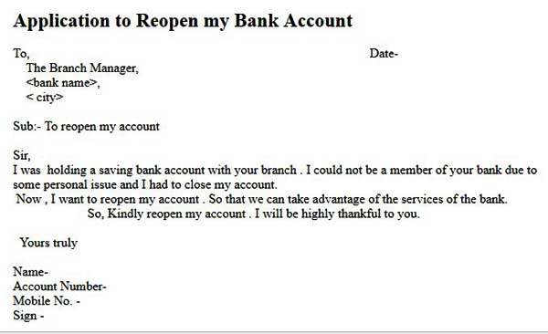 write a letter to bank manager for reopen account