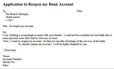 application to reopen bank account