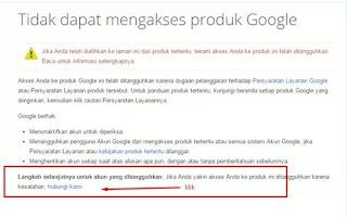 Klik hubungi kami jika ingin mengajukan permohonan kepada Google terhadap akun youtube yang terkena suspend