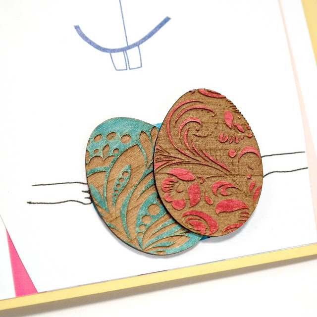 Happy Easter Greeting Card Mini Album with Decorated Easter Egg Wood Veneer Embellishments