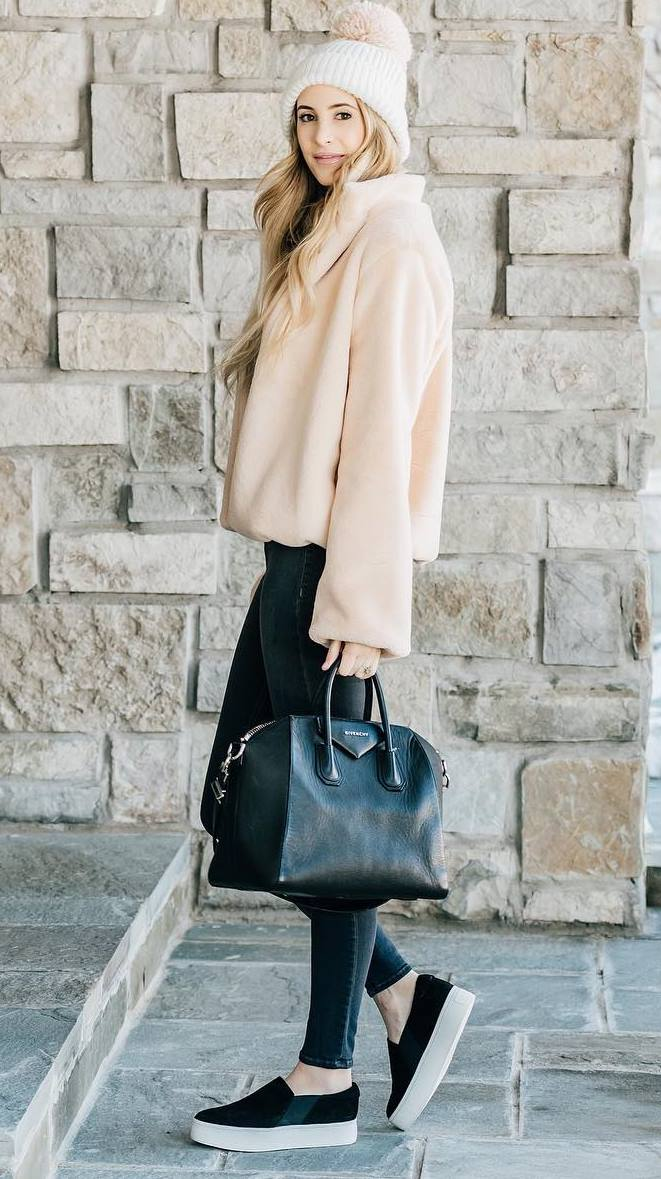 cozy fall outfit idea / knit hat + slip-on + skinny jeans + black bag + jacket